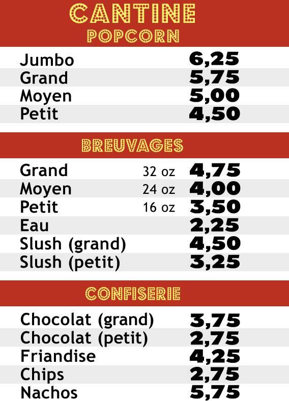 Le menu de la cantine au Cinéma Péninsule